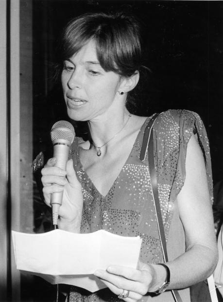 Mary Chamberlain speaking at Virago's fifteenth anniversary, 1988.